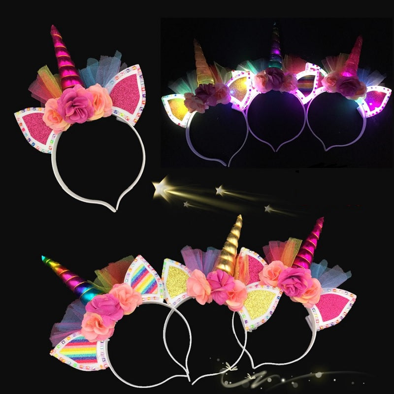 Flashing Light Up Unicorn Headbands Wholesale - Dallas General Wholesale