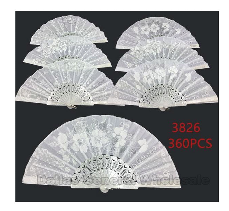 All White Laced Embroidery Hand Fans Wholesale - Dallas General Wholesale