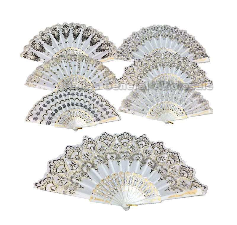 All White Laced Embroidery Folding Fans Wholesale - Dallas General Wholesale