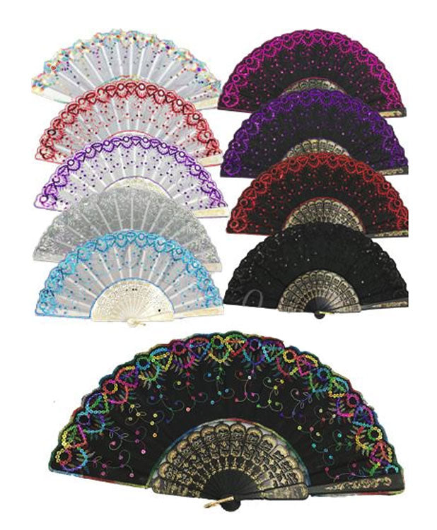 Glitter Designed Oriental Hand Fans Wholesale - Dallas General Wholesale