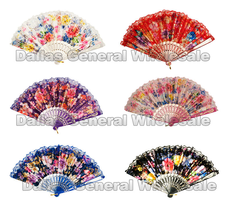 Beautiful Printed Flower Oriental Hand Fans Wholesale - Dallas General Wholesale