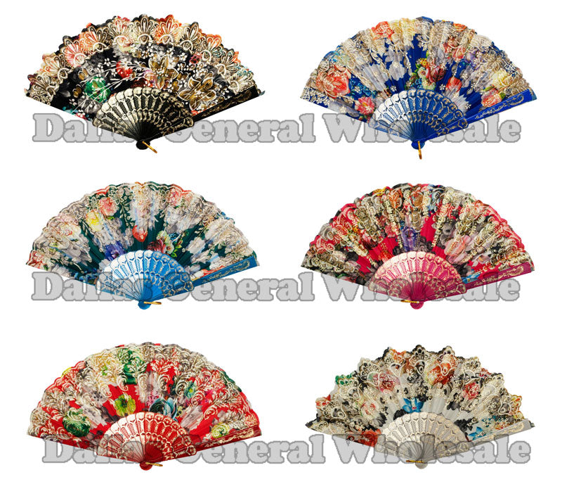 Glitter Flower Design Oriental Hand Fans Wholesale - Dallas General Wholesale