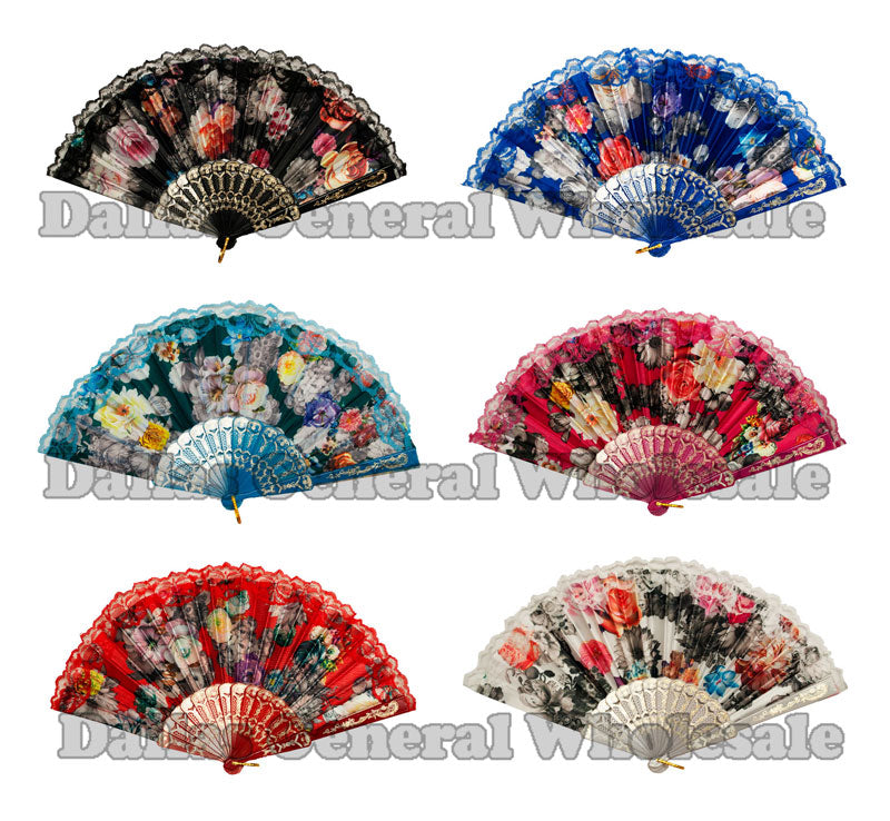 Beautiful Flower Design Lace Oriental Hand Fans Wholesale - Dallas General Wholesale