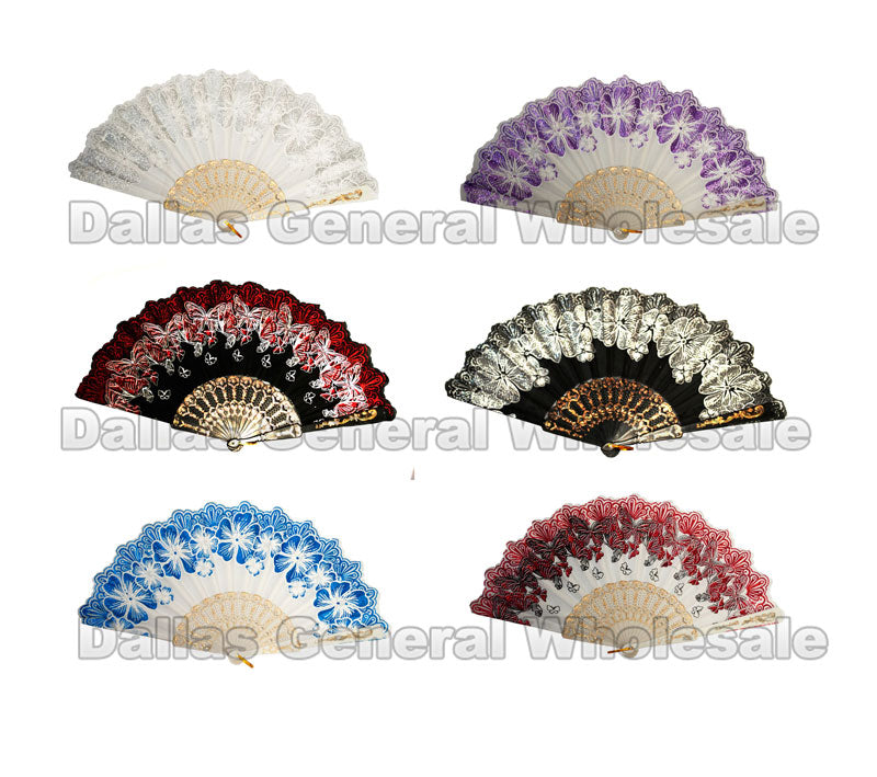 Glitter Floral Butterfly Oriental Hand Fans Wholesale - Dallas General Wholesale