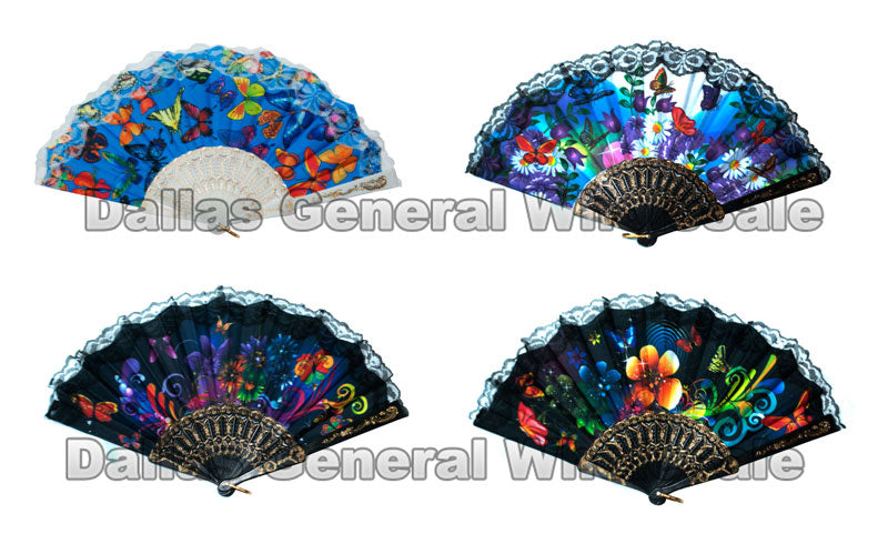 Abstract Flower Design Oriental Hand Fans Wholesale - Dallas General Wholesale