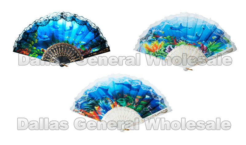 Under the Sea Printed Oriental Hand Fans Wholesale - Dallas General Wholesale