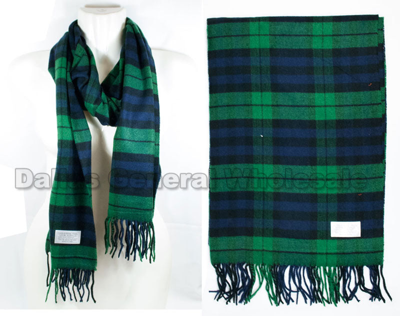 Men Plaid Cashmere Feel Scarf Wholesale - Dallas General Wholesale