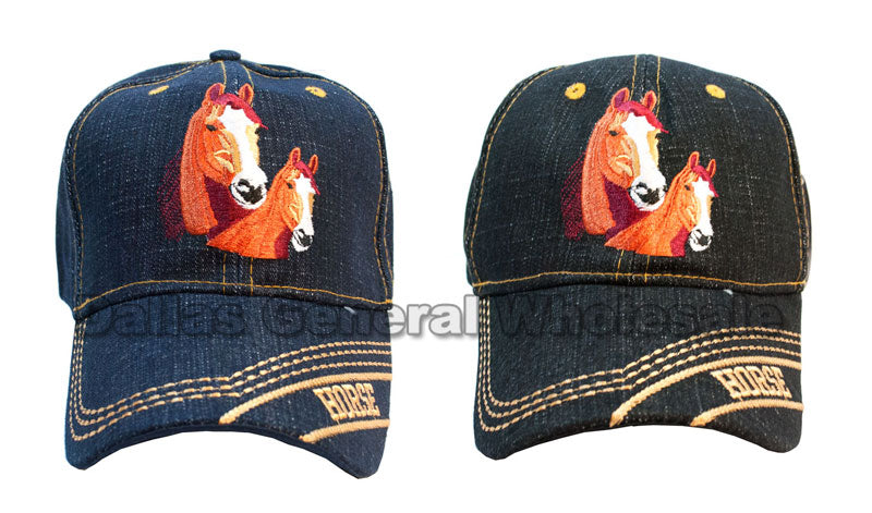 """Horses"" Denim Casual Baseball Caps Wholesale - Dallas General Wholesale"
