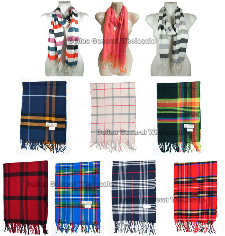 Assorted Fashion Cashmere Feel Scarves Wholesale - Dallas General Wholesale