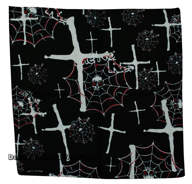 Spider Web Skull Printed Bandanas Wholesale - Dallas General Wholesale