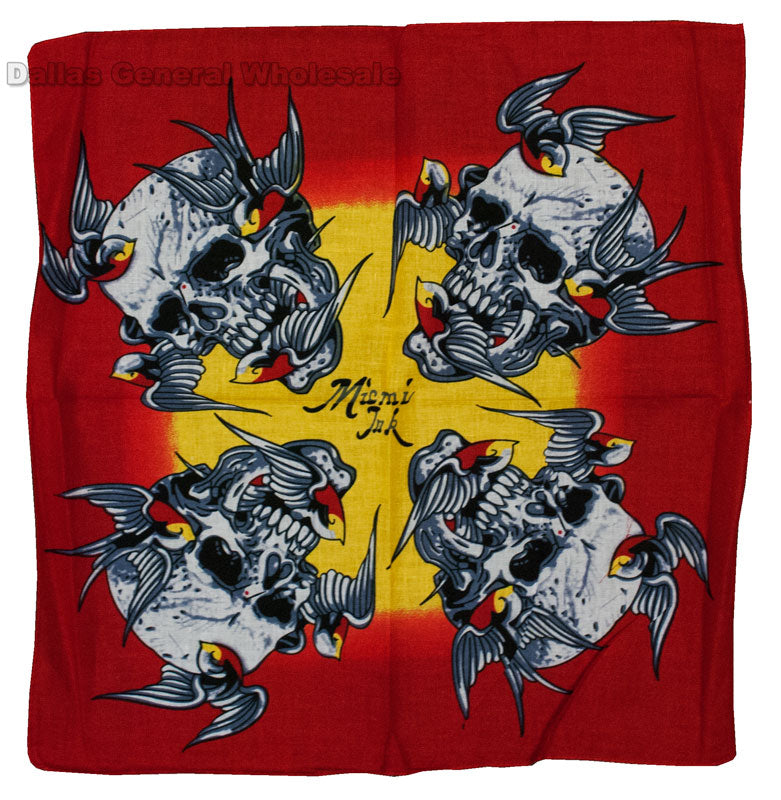 Skulls Printed Bandanas Wholesale - Dallas General Wholesale