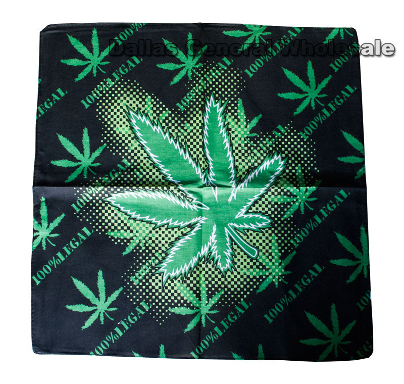 Marijuana Leaf Printed Bandannas Wholesale - Dallas General Wholesale