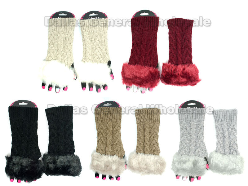 Girls Fashion Half Gloves with Fur Wholesale - Dallas General Wholesale