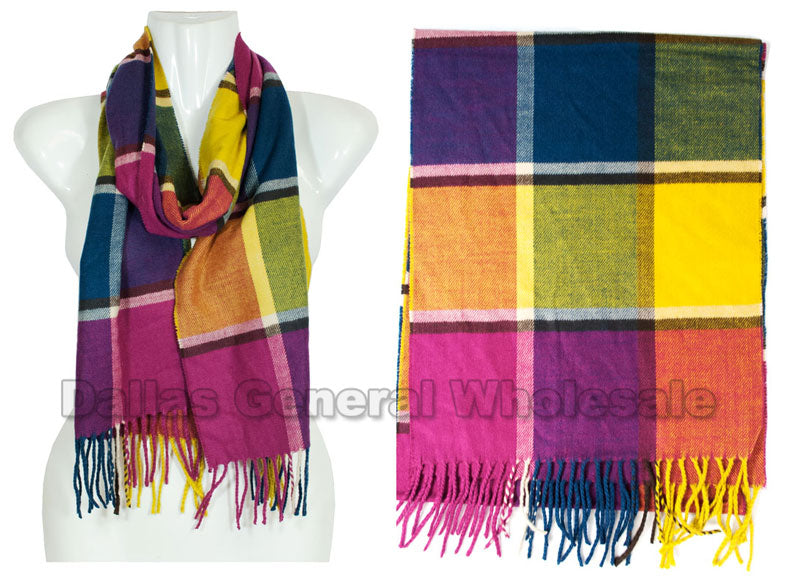 Checkered Girls Cashmere Feel Scarf Wholesale - Dallas General Wholesale