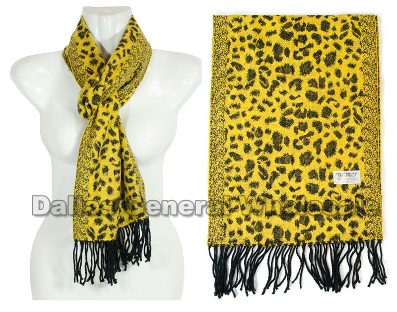 Cheetah Printed Cashmere Feel Scarf Wholesale - Dallas General Wholesale