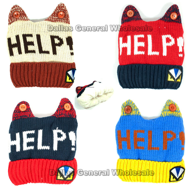 Kids Knitted Fur Insulated Beanies Hats Wholesale - Dallas General Wholesale