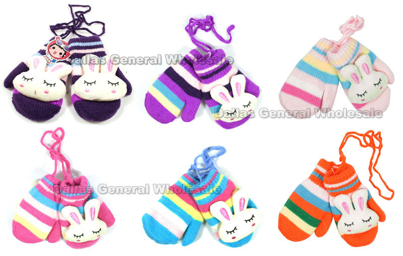 Little Girls Stuffed Bunny Mittens Wholesale - Dallas General Wholesale