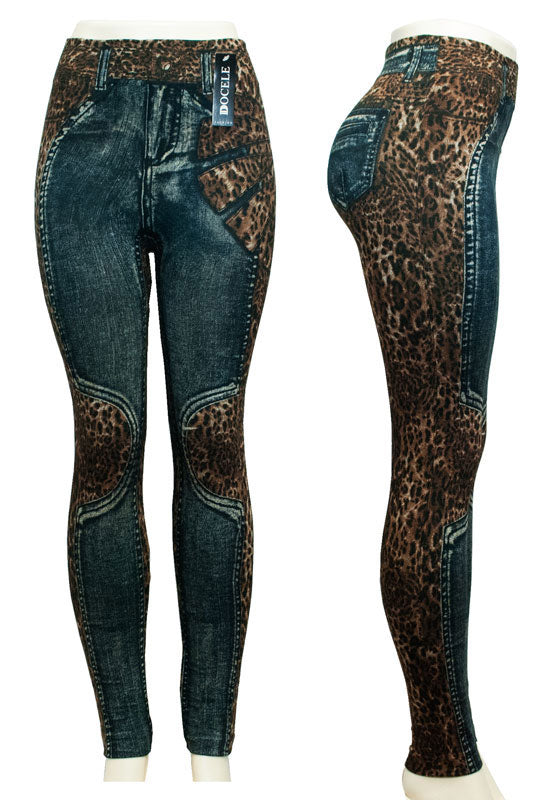 Ladies Fashion Pull On Printed Jean Like Leggings Wholesale - Dallas General Wholesale