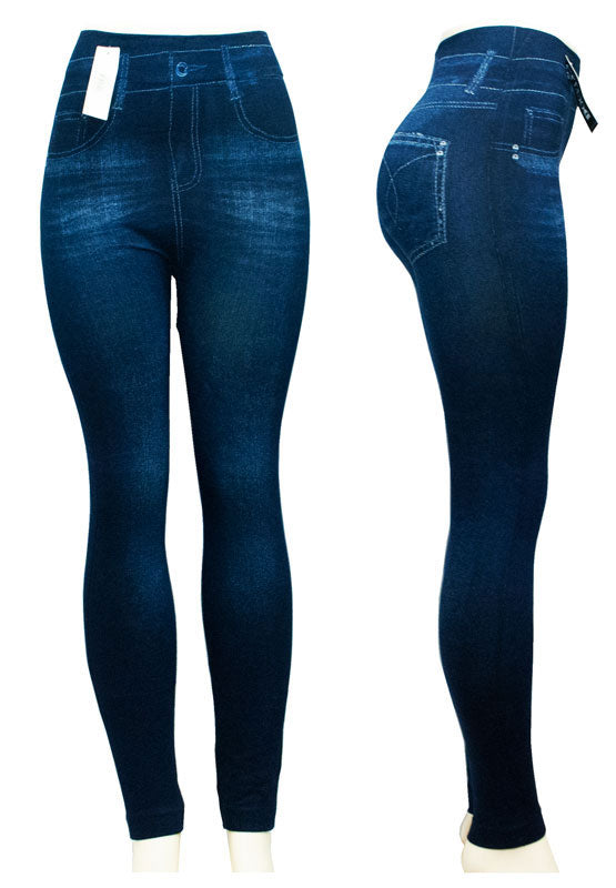 Ladies Fashion Pull On Washed Out Jean Like Leggings Wholesale - Dallas General Wholesale