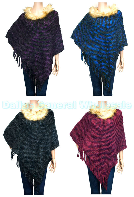 Ladies Fashion Winter Knitted Poncho with Faux Fur Collar Wholesale - Dallas General Wholesale