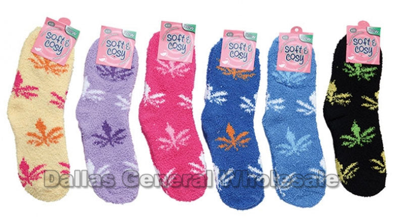 Marijuana Printed Ladies Fuzzy Socks Wholesale - Dallas General Wholesale