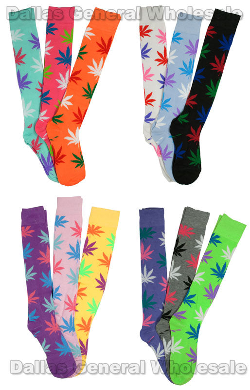 Girls Marijuana Over Knee Socks Wholesale - Dallas General Wholesale