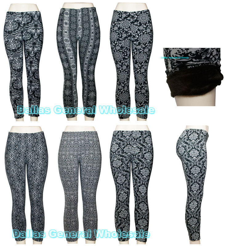 Printed Fur Thermal Insulated Leggings Wholesale - Dallas General Wholesale