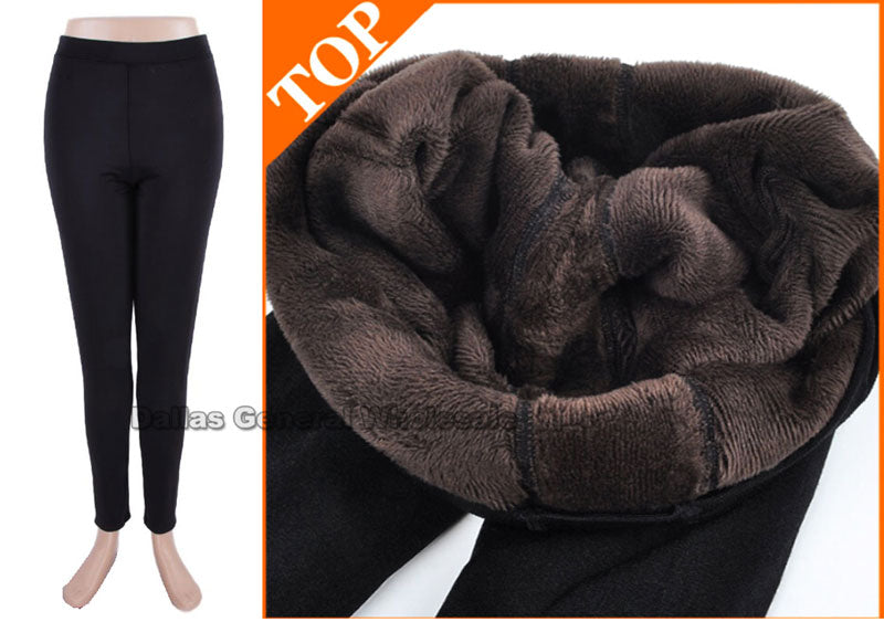 Ladies Fur Insulated Black Leggings Wholesale - Dallas General Wholesale