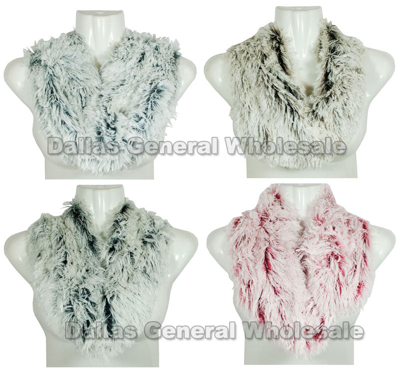 Ladies Fashion Fur Infinity Circle Scarf Wholesale - Dallas General Wholesale