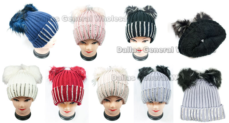 Ladies Pom Pom Ball Insulated Beanie Caps Wholesale - Dallas General Wholesale