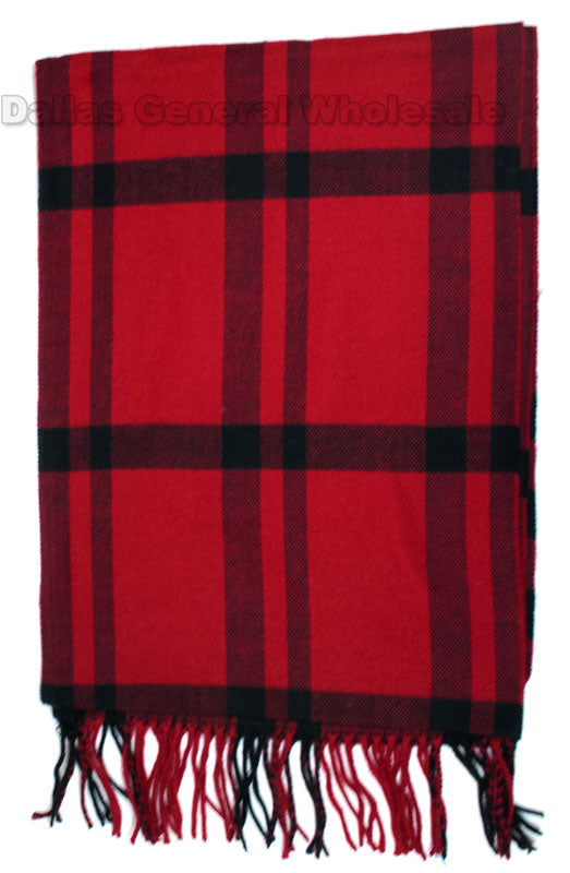Ladies Red Cashmere Feel Scarf Wholesale - Dallas General Wholesale