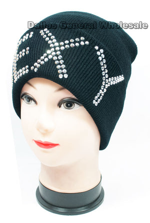"""SEXY"" Bling Bling Studded Beanie Caps Wholesale - Dallas General Wholesale"