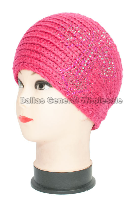 Studded Cross Extra Wide Knitted Winter Headbands Wholesale - Dallas General Wholesale