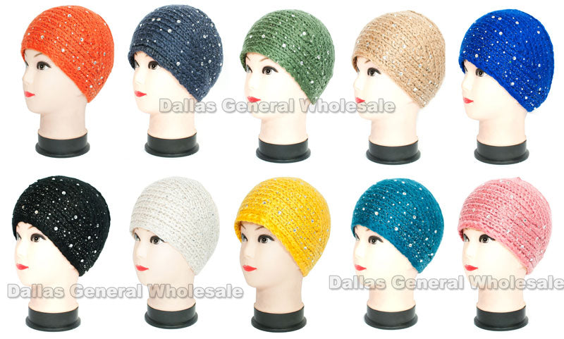 Extra Wide Studded Ladies Fashion Knitted Headbands Wholesale - Dallas General Wholesale