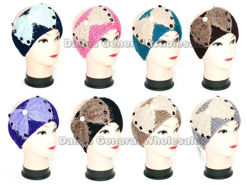 Girls Knitted Headbands with Big Bow Tie Design Wholesale - Dallas General Wholesale
