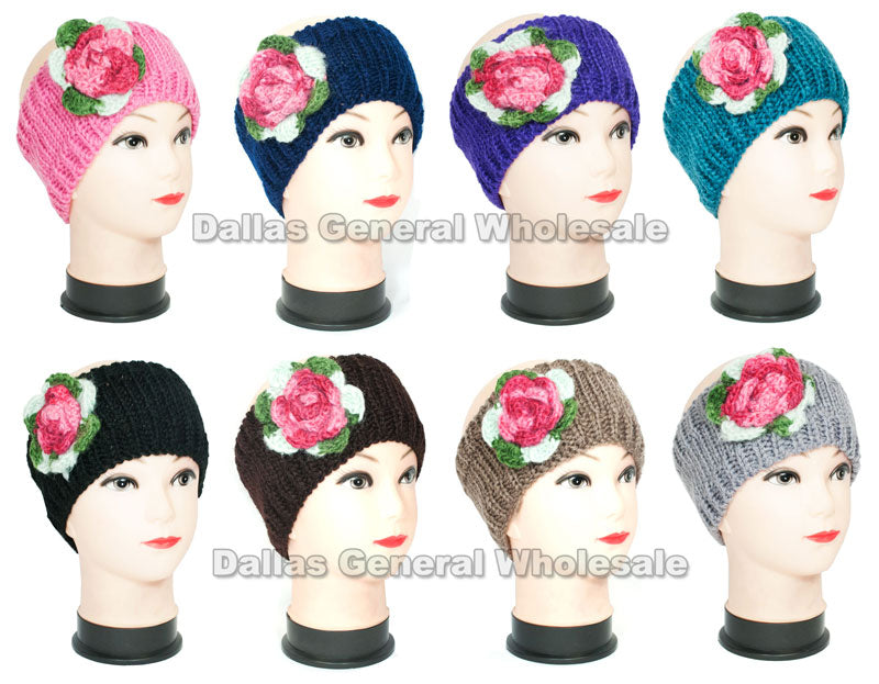 Girls Knitted Flower Winter Fashion Headbands Wholesale - Dallas General Wholesale
