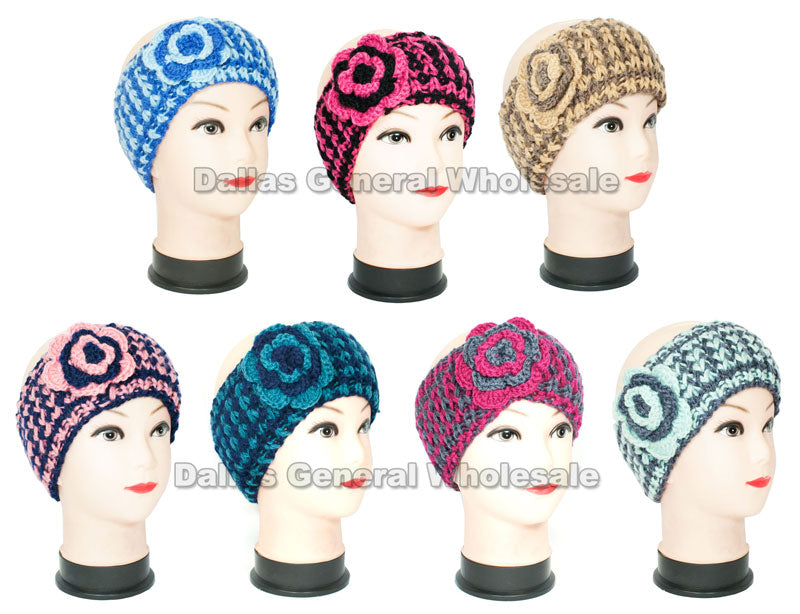 Women's Double Color Knitted Flower Winter Fashion Headbands Wholesale - Dallas General Wholesale