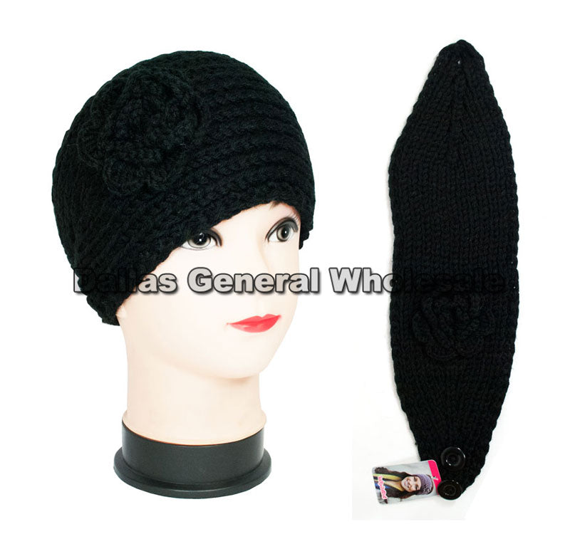 Black Color Flower Knitted Winter Fashion Headbands Wholesale - Dallas General Wholesale