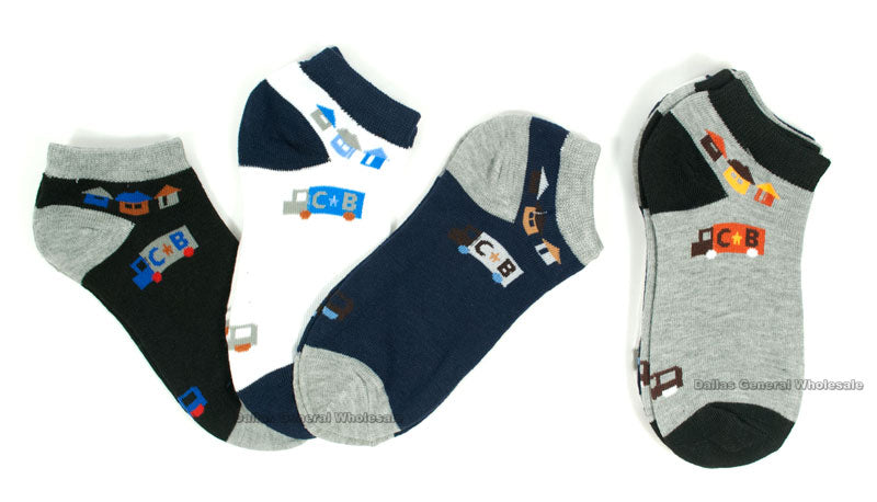 Little Boys Printed Ankle Socks Wholesale - Dallas General Wholesale