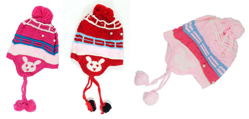 Little Girls Knitted Fleece Toboggan Aviator Hats Wholesale - Dallas General Wholesale