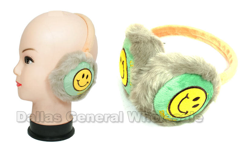 Little Kids Smiley Face Fur Earmuffs Wholesale - Dallas General Wholesale