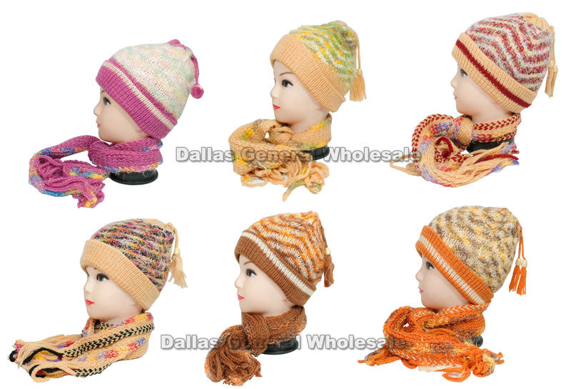 Little Girls Knitted Beanie Hat and Scarf Set Wholesale - Dallas General Wholesale