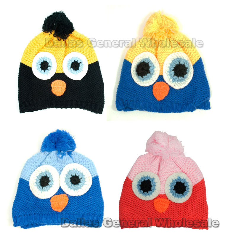Childrens Owl Knitted Beanies Wholesale - Dallas General Wholesale