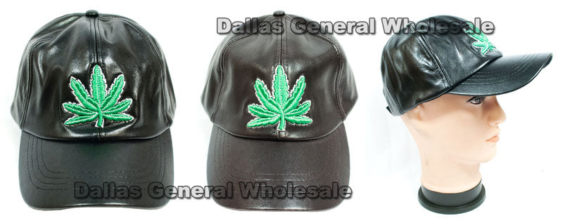 Men Casual Leather Marijuana Caps Wholesale - Dallas General Wholesale