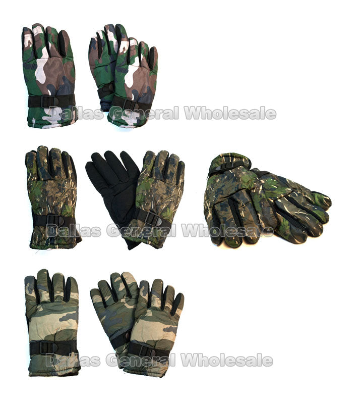 Men Camouflage Heavy Insulated Gloves Wholesale - Dallas General Wholesale