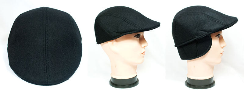 Men's Wool Dress Newsboy Caps with Ear Flap Wholesale - Dallas General Wholesale