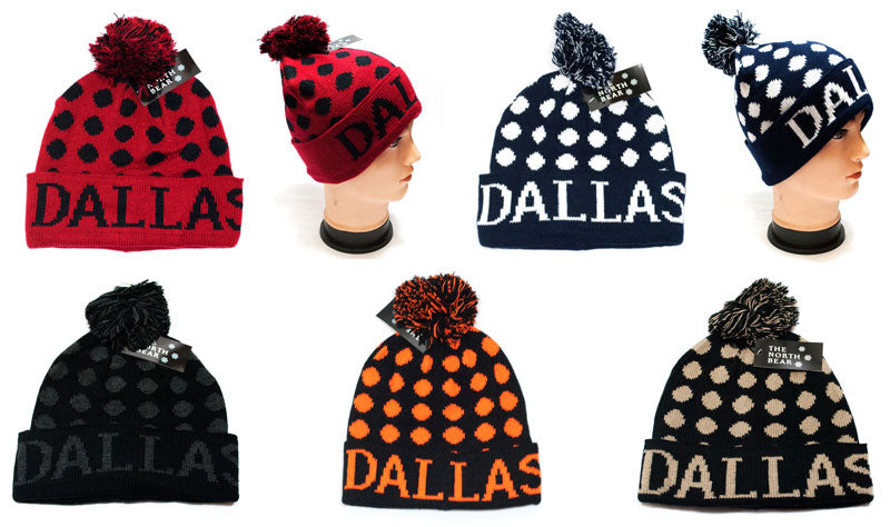 Winter Knitted Beanie Cap with DALLAS Print Wholesale - Dallas General Wholesale