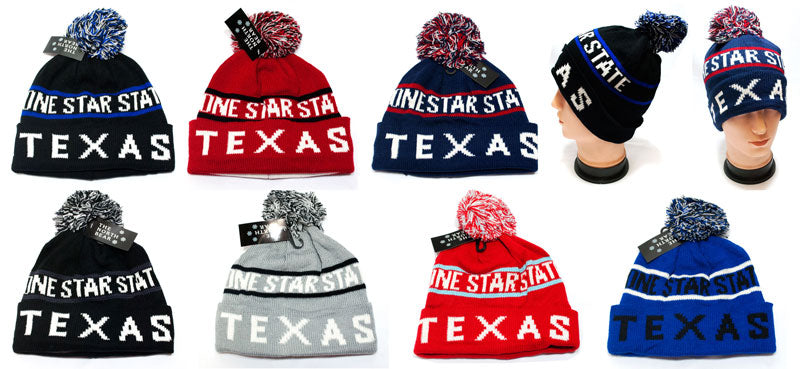 Wholesale Winter Knitted Beanie Cap with Texas Print - Dallas General Wholesale