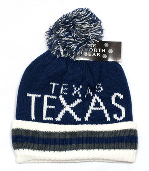 Winter Knitted Beanie Cap with TEXAS Print Wholesale - Dallas General Wholesale