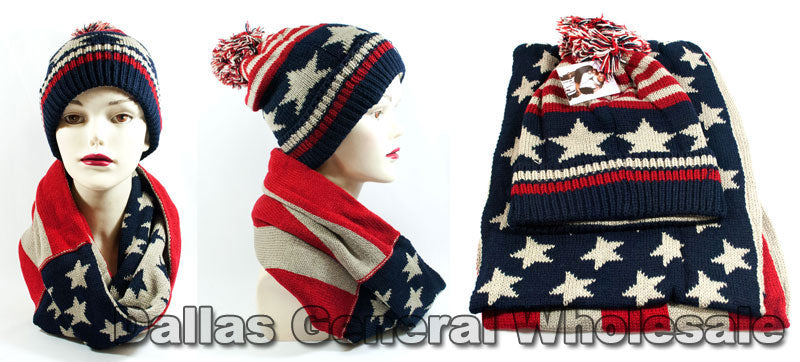 American Flag Designed Beanie with Infinity Scarf Set Wholesale - Dallas General Wholesale